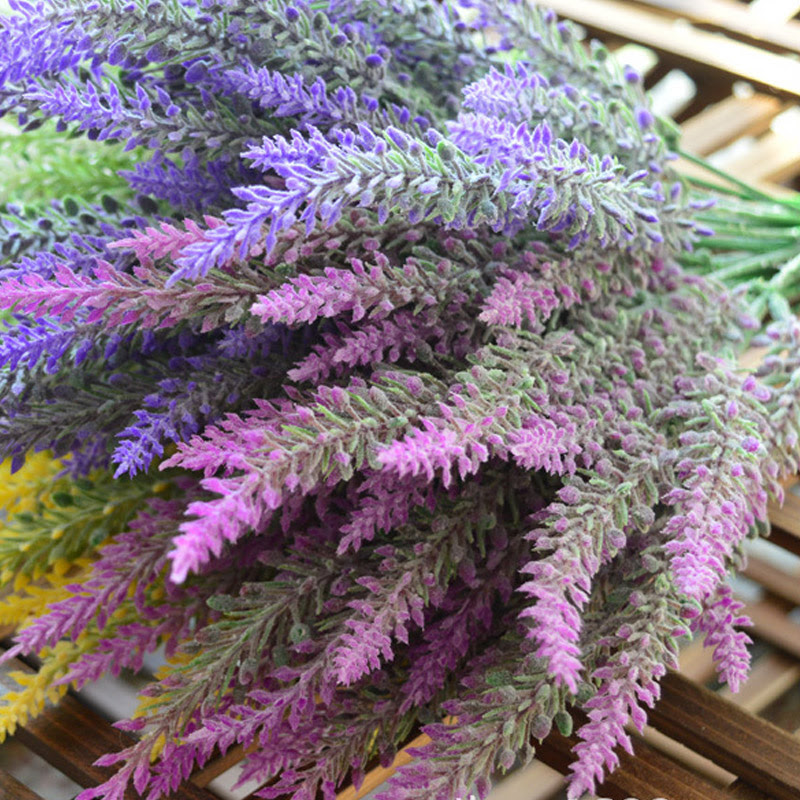 1PCS 25 Heads Romatic Artificial Fake Silk Lavender Flowers Wedding Home Decorative  Alex NLD