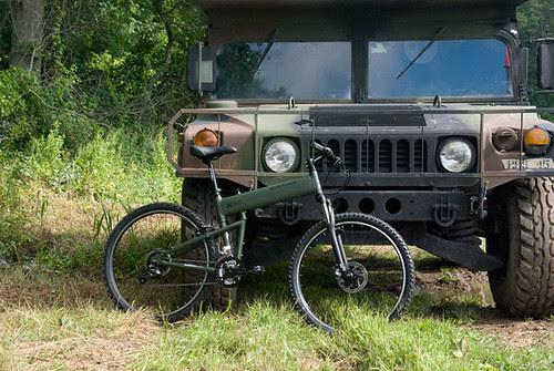Montague Paratrooper folding bike with a hummvee