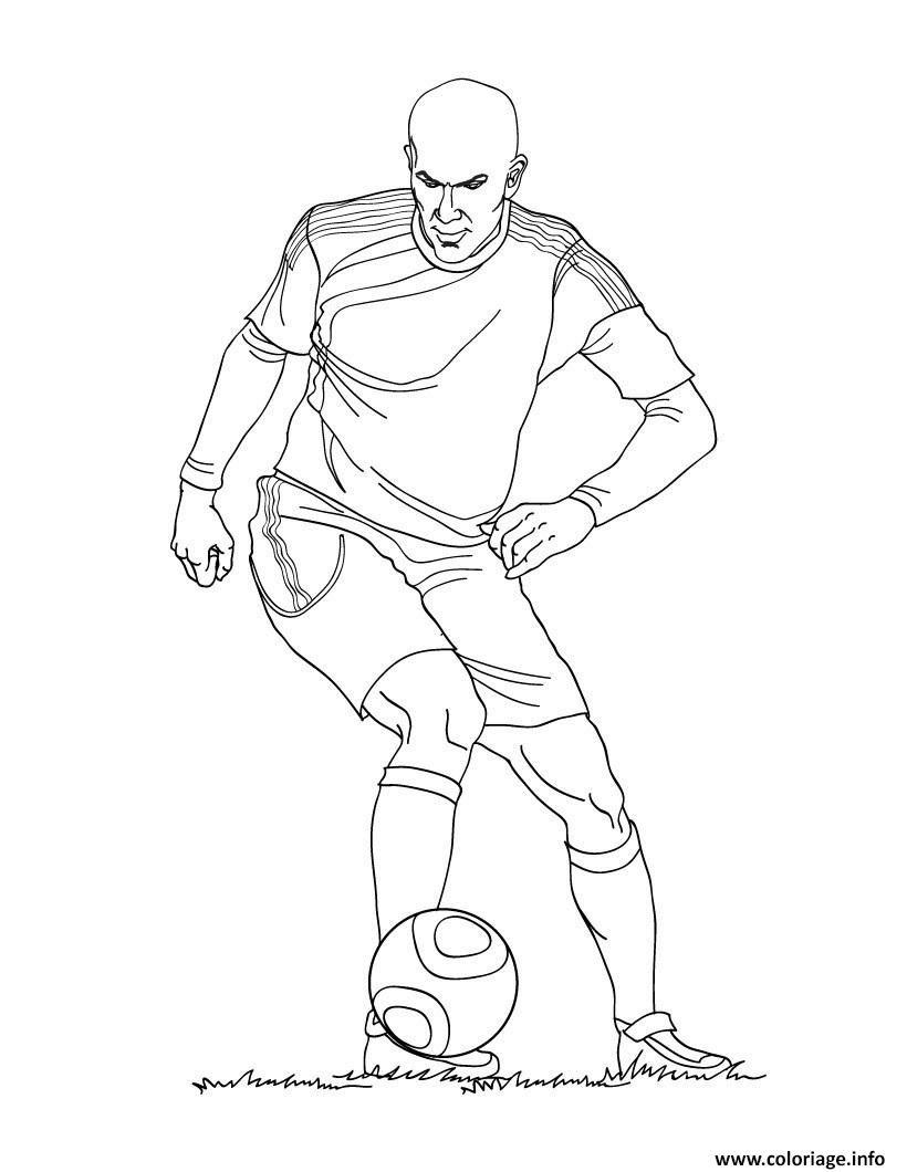 Coloriage Zinedine Zidane Joueur De Foot France Dessin  Imprimer
