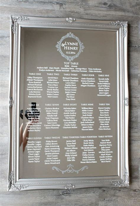 Acrylic Wedding Table Plan ? A2, A1 or A0 ? Seating Chart