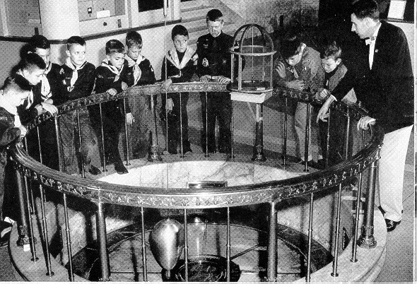 Cub Scouts viewing the Foucault Pendulum at The Buhl Planetarium  and Institute of Popular Science