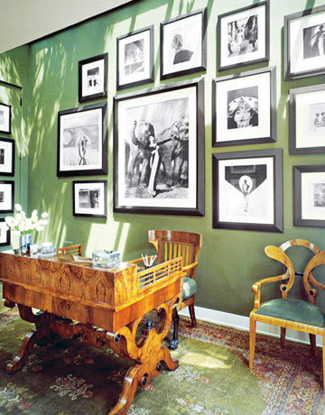 miscellaneous - Farrow & Ball Minister Green - photo gallery desk brown green office  Love the photo gallery!  Flickr find! Green office with
