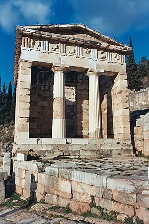 The reconstructed Treasury of Athens, built to...
