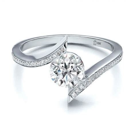 Contemporary Tension Set Pave Diamond Engagement Ring   We