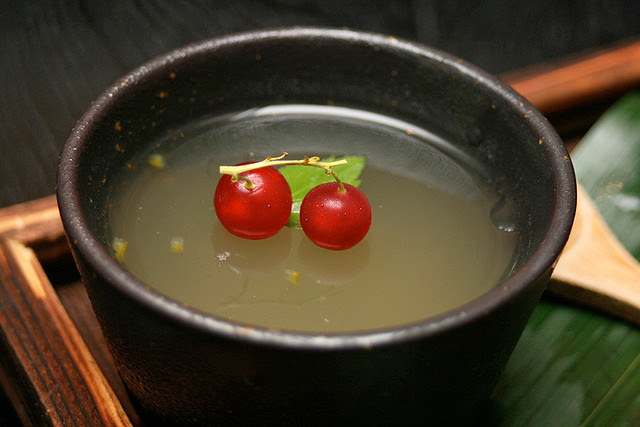 Yuzu jelly with red currants