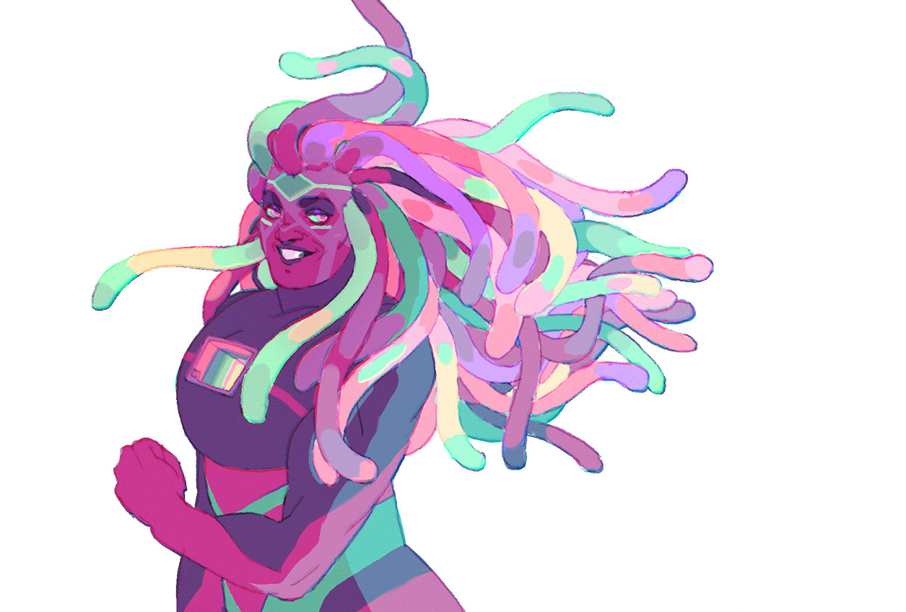 decided to revisit this bismuth design, getting a bit of a homeworld vibe from her. : )