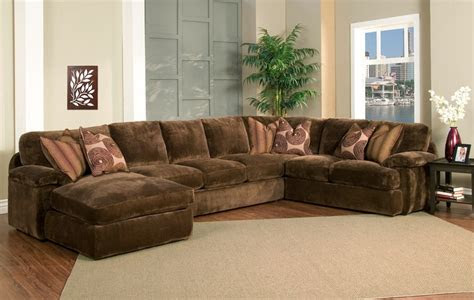 champion brown fabric  peice oversized chaise sectional