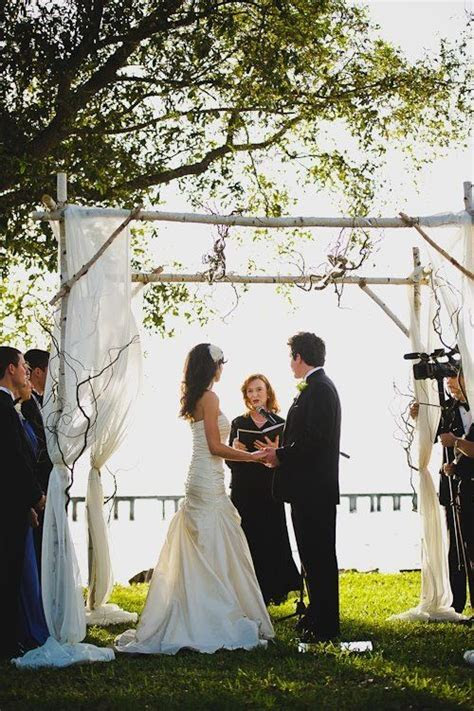Rustic hoopa / chuppah made from birch. Austin Trenholm