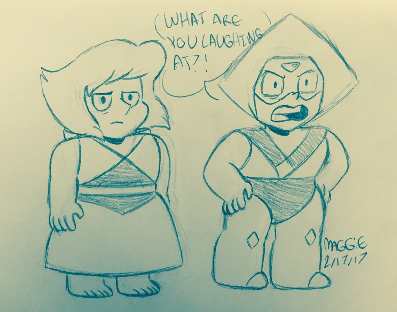 AU where lapis and peridot tag along with the crystal gems in Adventures In Light Distortion and we get this