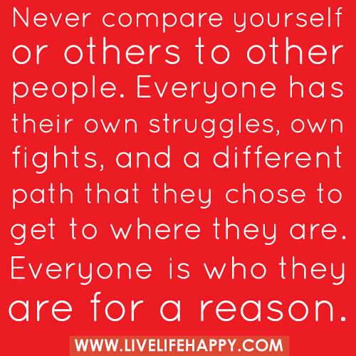 Never Compare Yourself Or Others To Other People Live Life Happy