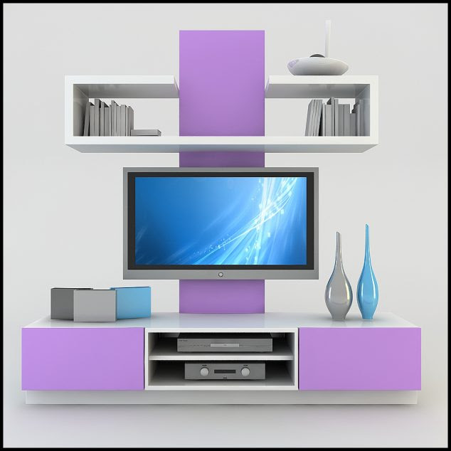 lila rengi tv C3BCnitesi 634x634 15 Amazing TV Units that Demonstrate Stylish Trends
