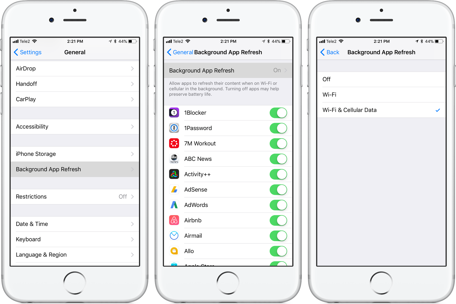 How to disable background refreshing for iOS apps when on ...