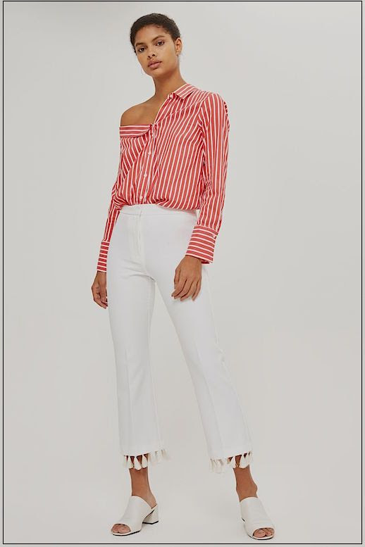 Le Fashion Blog Must Have Tassle Hem Kickflare White Pants Via Topshop