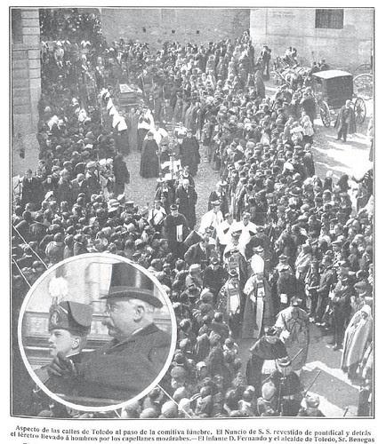 Entierro del Cardenal Sancha el 28 de febrero de 1909. Revista Nuevo Mundo. Fotografía de Lucas Fraile