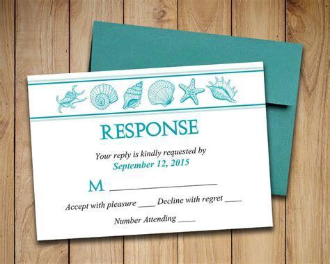 Beach Wedding RSVP Template   Seashell Response Card