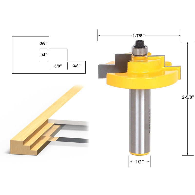 Stepped Rabbet Picture Frame Router Bit For 14 Glass Yonico 18126