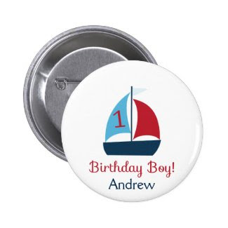Sailboat Birthday Boy Button