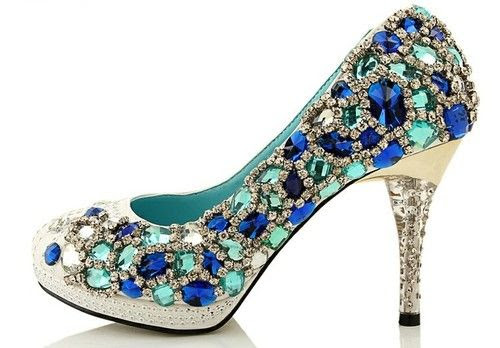Colorful Rhinestones High Heel Wedding Shoes
