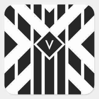Black Quadrilateral Stripes on White with Monogram Square Sticker