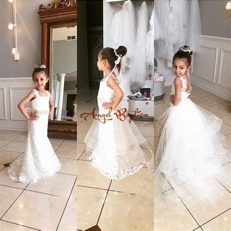 White /ivory Lace Mermaid Flower Girl Dresses for Wedding