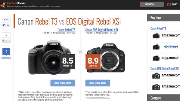 يسمح وبكل سهولة المقارنة بين الكاميرات الموجودة في السوق مع إمكانية شرائها من موقع أمازون مباشرةً.