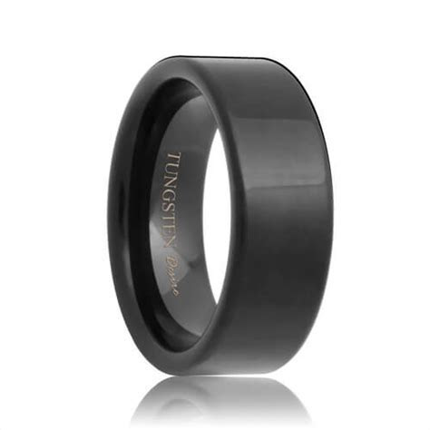 Indianapolis   Flat Black Tungsten Carbide Wedding Ring