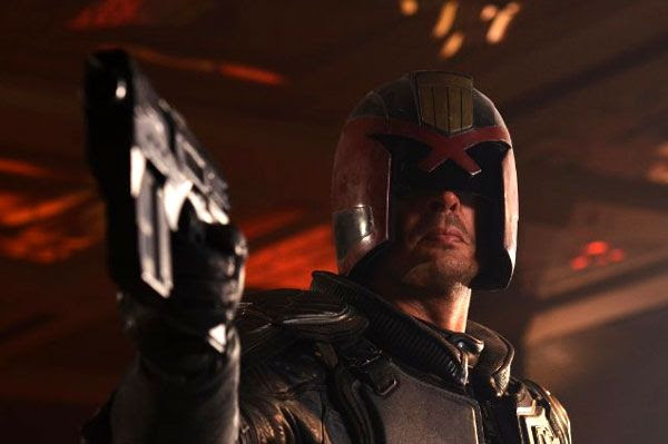 Karl Urban as Judge Dredd in DREDD 3D.