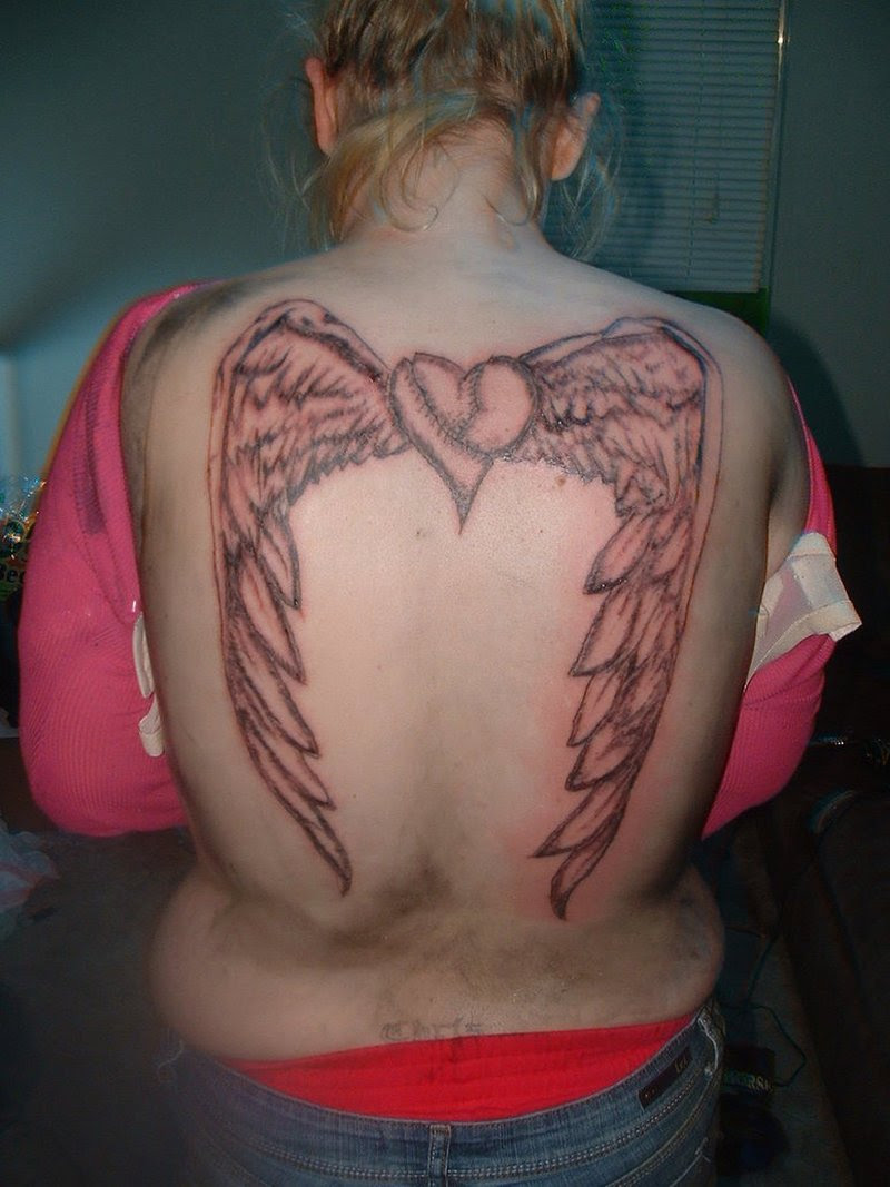 Brown Ink Heart Angel Wings Tattoo On Back Tattoos Book 65000