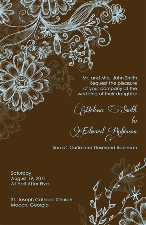 Elegant and Beautiful Wedding Invitations for Free: Blue