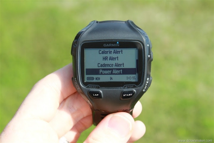 Garmin FR910XT Heart Rate (HR), Cadence, Power Alerts