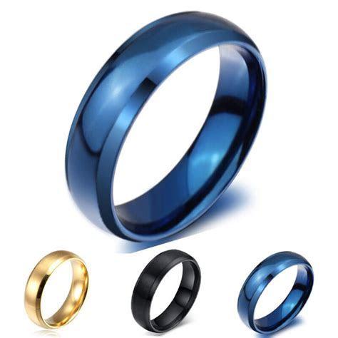 Size4 14 Blue/Gold/Black Titanium Steel Engagement Ring
