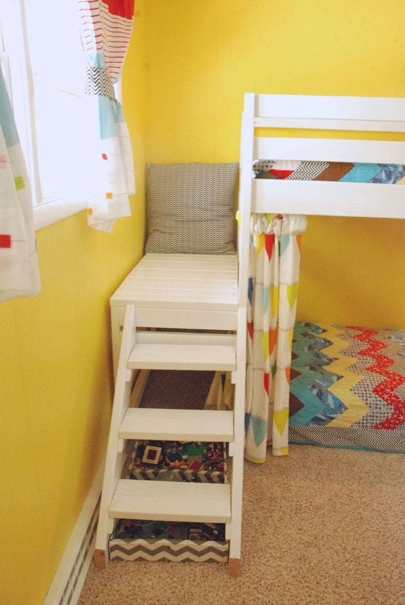 Ana White  DIY Jr. Camp Loft Bed with Curtain  DIY Projects