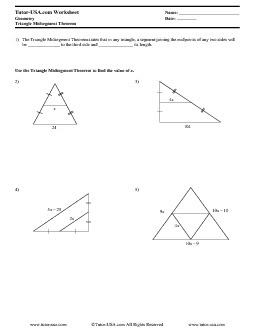 Worksheet: Triangle Midsegment Theorem  Geometry Printable