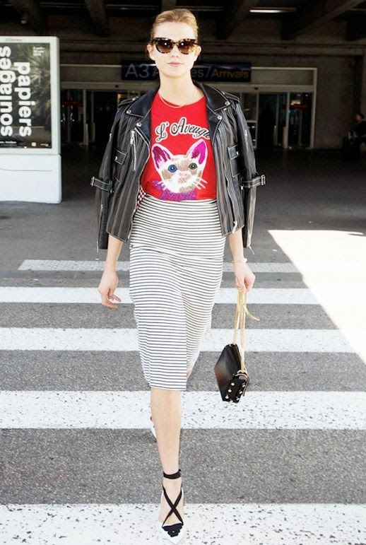 Le Fashion Blog Model Off Duty Style Karlie Kloss Tortoise Sunglasses Leather Moto Jacket Graphic Print Tee Striped Pencil Skirt Espadrille Style Altuzarra Pumps Via Who What Wear