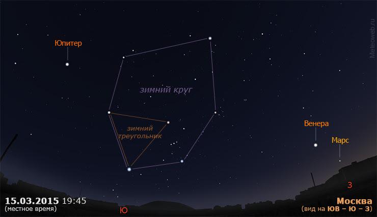 Юпитер, Венера и Марс на вечернем небе Москвы 15 марта 2015 г.