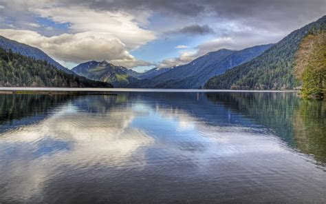 lake crescent located  northwest washington wallpaper