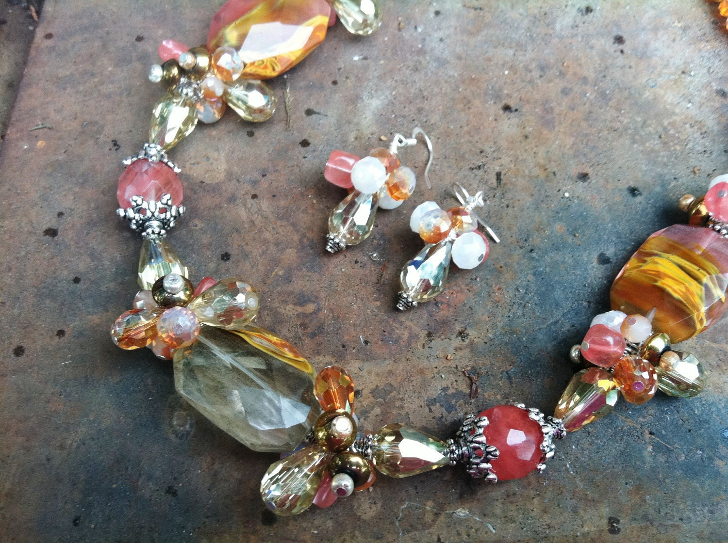 Cherry and Volcano Quartz with Glass Beads and Crystals Necklace and Earrings