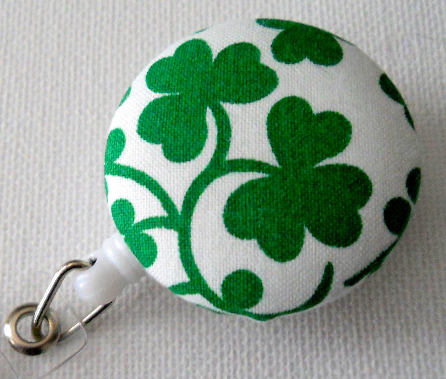Retractable ID Badge Holder - ID Badge Reel Holder for St. Patrick's Day Clover Shamrock Kelly Green (Retractable)