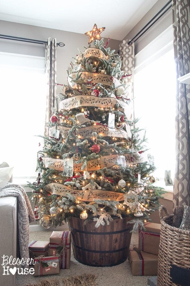 Woodland Christmas Home Tour 2015 Part 1 | blesserhouse.com | barrel tree stand and DIY flocking