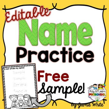 Try a FREE Sample of our popular EDITABLE NAME PRACTICE pages. The ...
