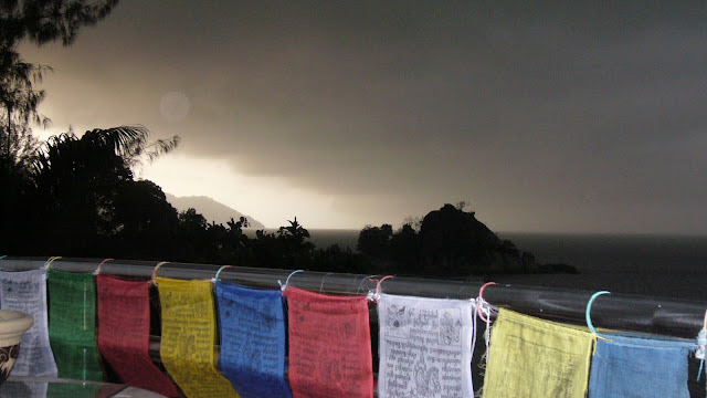 Prayer flags in a storm over Teluk Bahang, Malaysia