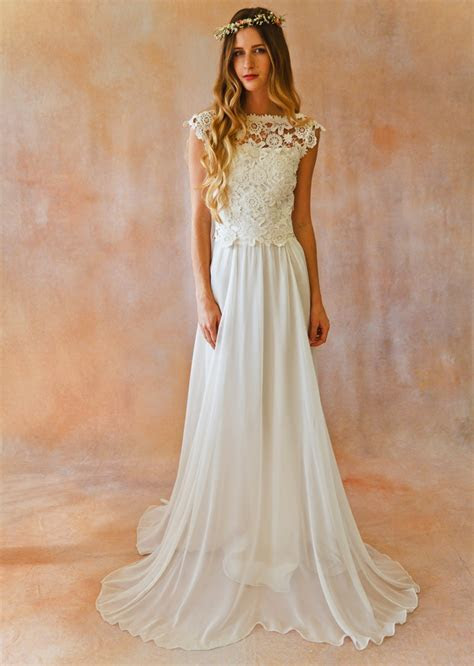 Backless Lace Top & Silk Chiffon Skirt   Dreamers and Lovers