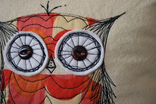 owl stitch pillow close up