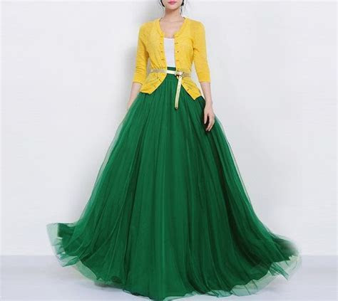 SALE Long Green Tulle Full Pleated Skirt A line Maxi