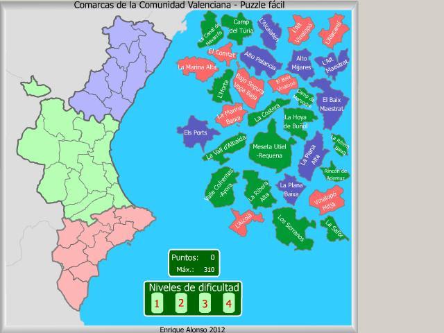 Mapa de les comarques de la Comunitat Valenciana