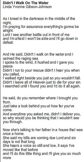 Didnt I Walk On The Water Lyrics