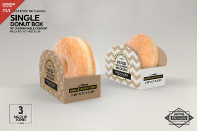 Download Single Donut Box Packaging Mockup PSD Mockup Template