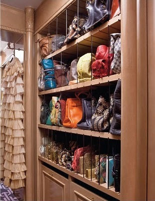 Great bag storage idea from Kelly Wearstler's dressing room. (& other dressing room inspiration!) ~ via Habitually Chic