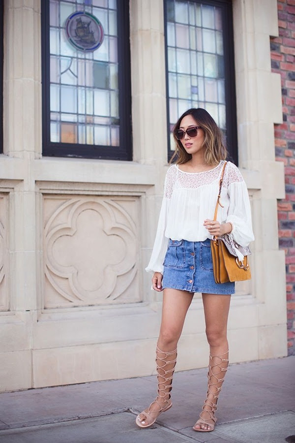 100 long and short denim skirt outfits for girls
