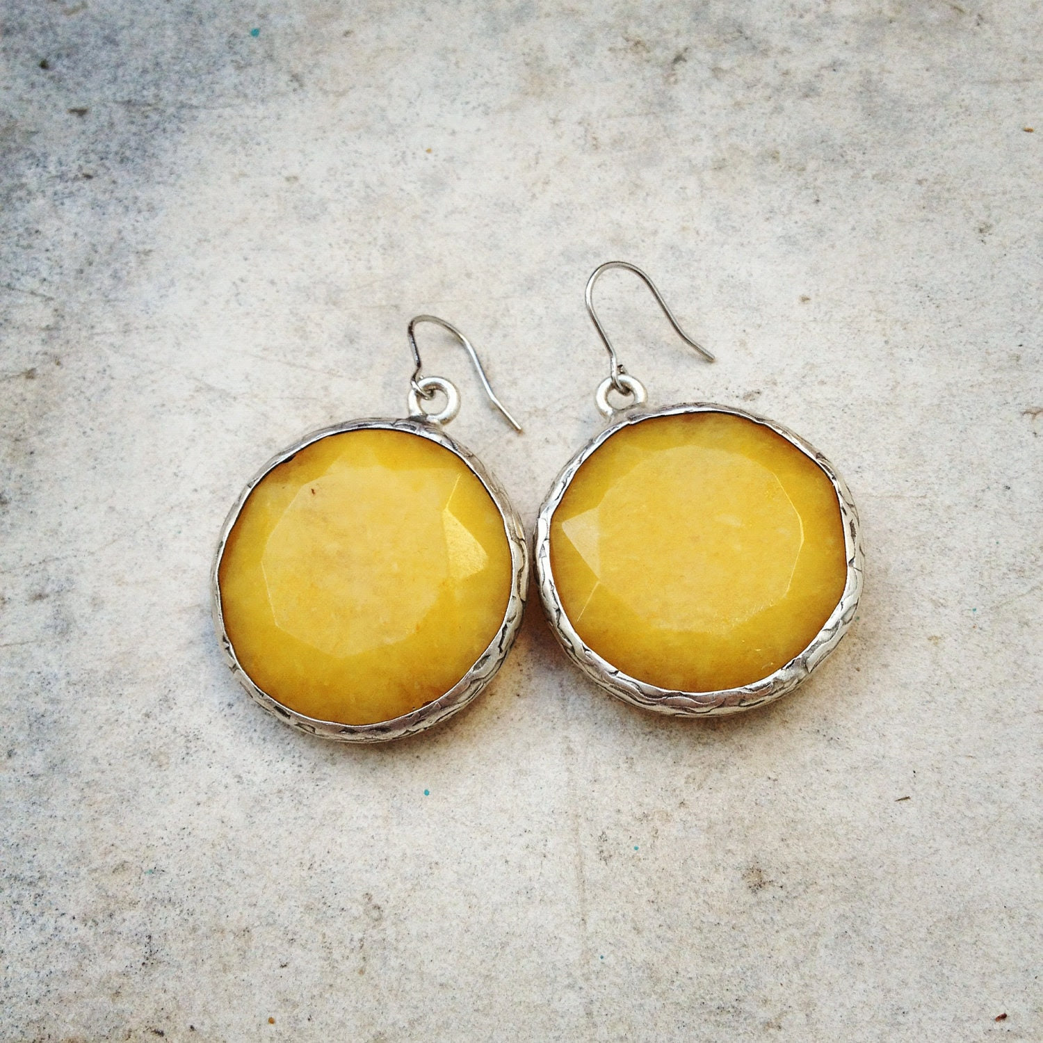 unique statement  earrings gemstone fashion large bold earrings  sunshine yellow stone silver israel jewelry